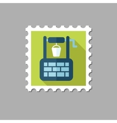 Water well flat stamp with long shadow vector