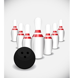 Bowling pins and bowling ball vector