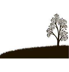 Silhouette of birch tree with leaves at grass vector