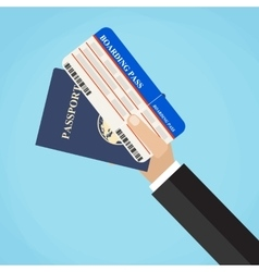 Boarding pass and passport in hands vector