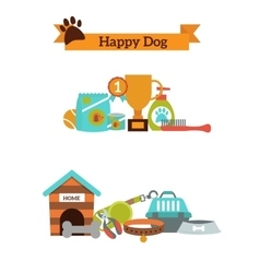 Set of color icons for dog pet food pet vector