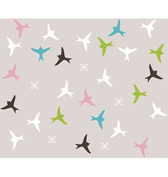Colored birds seamless pattern bird silhouette vector