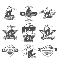 Set of snowboarding badges and logotypes vector