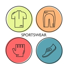 Set of 4 bicycle sportswear modern linear icons vector