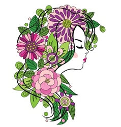 Young girl with flowered hair vector