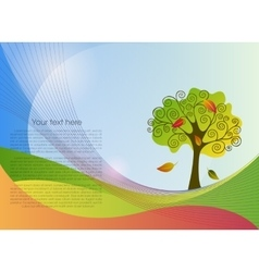 Abstract lines background with a tree vector image vector image