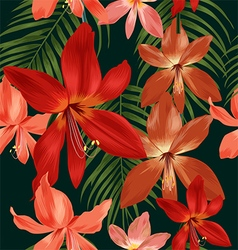 Amaryllis seamless pattern vector