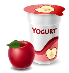 Apple yogurt cup with red apple vector image vector image