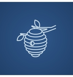 Bee hive line icon vector