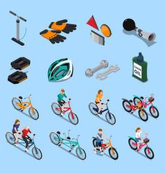 bicycle isometric icon set vector image