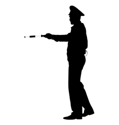 Black silhouettes Police officer with a rod on vector image vector image