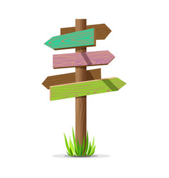 colored wooden arrow empty signboard vector image vector image