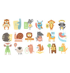 Colorful set of different animals with stickers vector