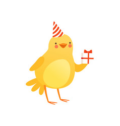 Cute baby chicken in party hat holding gift box vector