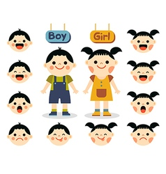 Cute girl and boy with different emotions vector image vector image