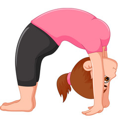 Cute woman cartoon exercing yoga sport vector