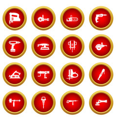 Electric tools icon red circle set vector