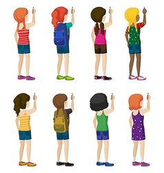 Faceless kids with fashionable attires vector image