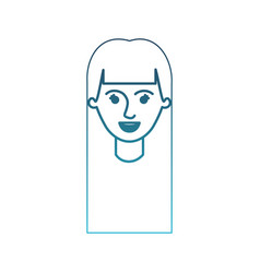 Female face with long straight hair in degraded vector