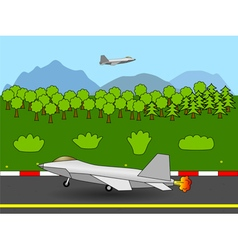 Fighter jet taking off vector image vector image