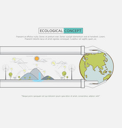 flat line green eco life conservation vector image
