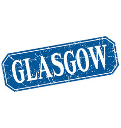 Glasgow blue square grunge retro style sign vector