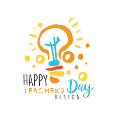 Happy teachers day label design back to school vector