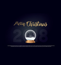 Merry christmas snow globe ball new year chrismas vector