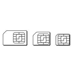 Mini micro nano sim cards silhouette outline vector image