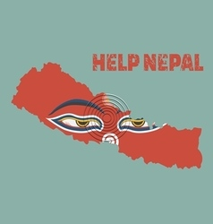 Nepal earthquakeNapal map with buddha eyes Help ne vector image