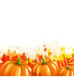 Orange With Blobs Autumn Leafs And Pumpkins vector image vector image
