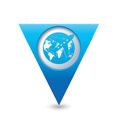 Planeandglobe blue triangular map pointer vector