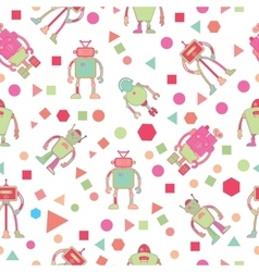 Seamless pattern for kids with robots vector
