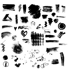 Set or collection of black ink stains vector