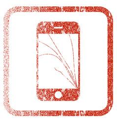 Smartphone screen cracks framed textured icon vector