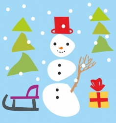 snowman and Christmas items vector image vector image