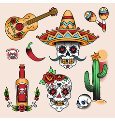 tattoo set mexico vector image vector image