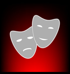 Theater icon with happy and sad masks postage vector