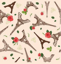 Vintage brown eifel tower paris and roses vector