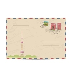 Vintage postal envelope with China stamps vector image vector image