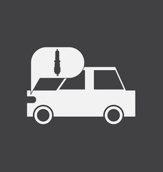 White icon on black background car and detail vector