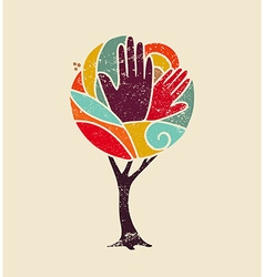 Color concept tree with diversity people hands vector image