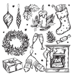 Sketch christmas gifts icon set vector
