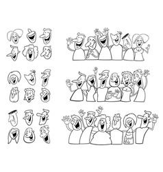 Black and white happy people set vector