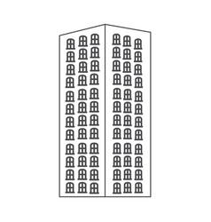 Monochrome contour with apartment building vector