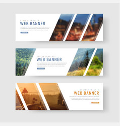 Template of white web banners with diagonal vector