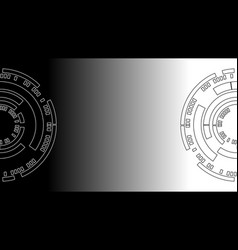 Black and white circle of technology abstract vector