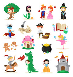 fairytale characters cartoon set vector image