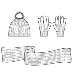Cap scarf gloves vector