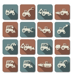 Tractor flat icons vector